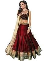 Lehenga Choli ( womens bangalory silk maroon Lehenga_Free Size_SF121 )