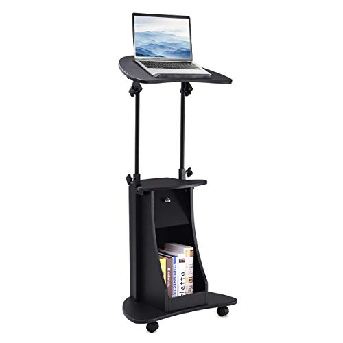 Tangkula Laptop Cart, Adjustable Height and Swivel Top Lectern Podium Desk Cart, Rolling Standing Notebook Laptop Table Cart, Portable Mobile Computer Desk with Storage Drawer - Laptop Mobile Cart