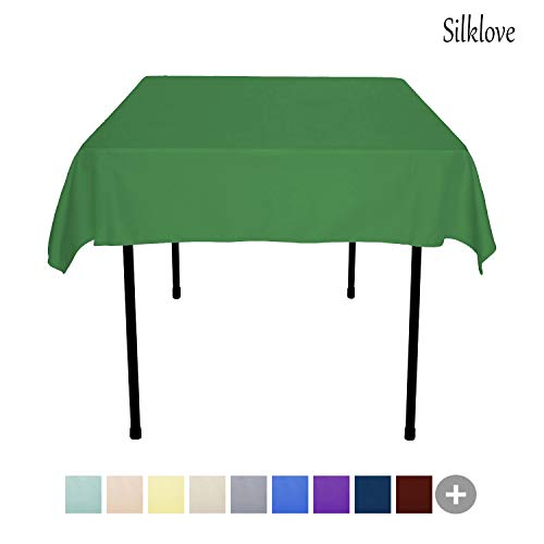 SilkLove Tablecloth - 54 x 54 Inch -Green-Square Polyester Table Cloth, Wrinkle,Stain Resistant - Great for Buffet Table, Parties, Holiday Dinner & More ()