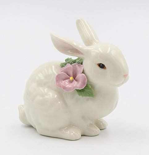 (Cosmos Gifts Fine Porcelain Bunny Rabbit with Purple Lilac Pansy Flower Figurine, 4-1/4