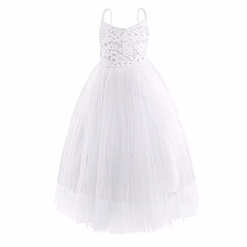 FEESHOW Girl's Spaghetti Shoulder Straps Flower Girl Dress Wedding Pageant Party Princess Tutu Dress White 4