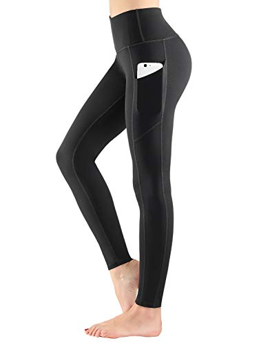 ESPIDOO High Waist Yoga Pants with Pockets for Women Tummy Control Non See-Through 4 Way Stretch Yoga Leggings, Black, M