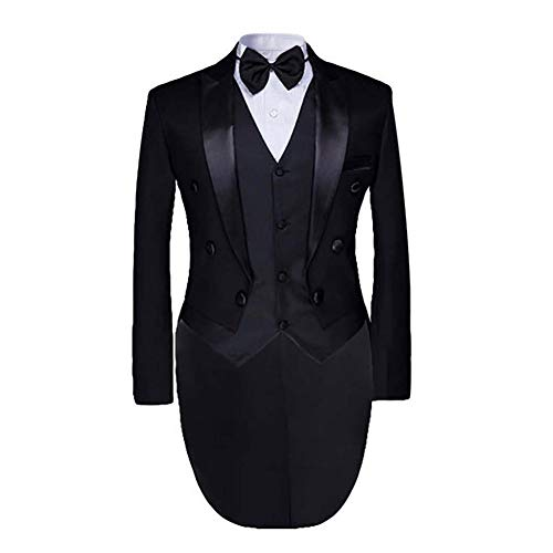 Men's luxury Casual Stylish Dress Suit Slim Fit Blazer Coats Jackets & Vest & Trousers, Black,Large -