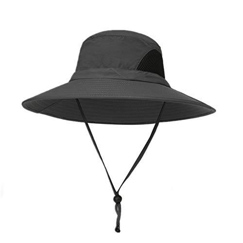 TANGSen Unisex Outdoor Sun Hat UV Protection Bucket Mesh Boonie Hat Adjustable Casual Fishing Cap Hat Dark Gray (Usc Beer Bucket)