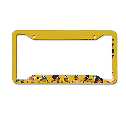 PoppyAnthony Trick or Treat Halloween Party Pirate Clown Dracula Mummy Frankenstein Witch Novelty License Plate Frame Aluminum License Plate Slim 4 Holes and Screws for US Canada
