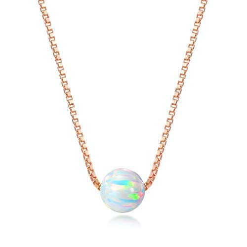Rose Gold over Sterling Silver 6mm Created Opal Necklace 16 + 2 Extension