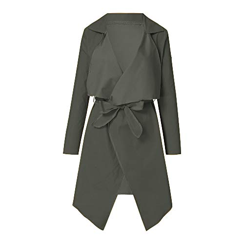 NUWFOR Women's Loose Solid Irregular Hem with Lapel Coat Trench Coat Cardigan Tops(Army Green,S) by NUWFOR (Image #1)