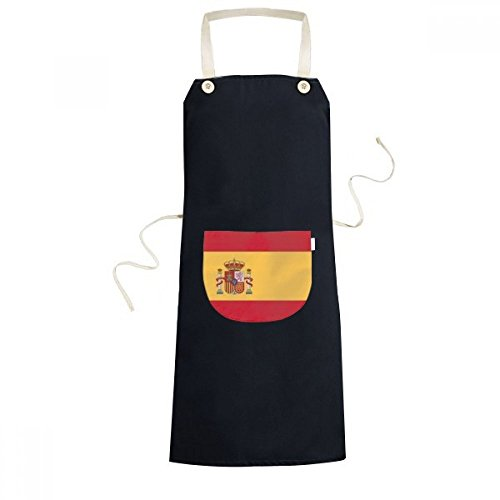 DIYthinker Spain National Flag Europe Country Symbol Mark Pattern Cooking Kitchen Black Bib Aprons With Pocket for Women Men Chef Gifts by DIYthinker