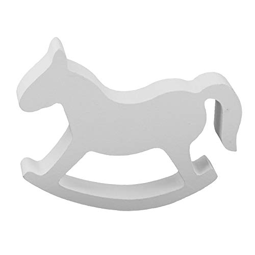 ZAMTAC White Wooden Small Rocking Horse Children's Room Decorations Crafts Wood Hand Carved Gifts Kids Toys Home Decoration ()