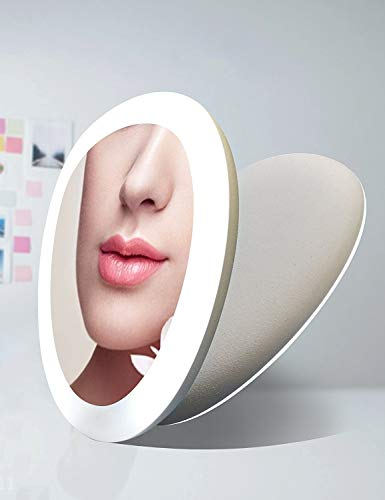 Acelone Lighted Makeup Mirror,Travel Handheld Mirror Compact Portable Mirror with LED Lights for Beauty Cosmetic Camping