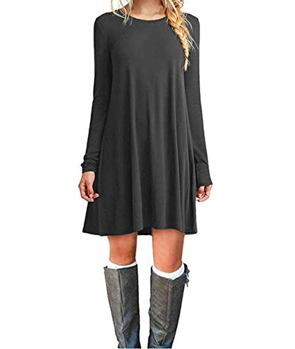 Sleeve Casual Tunic Dress Loose Swing Plain T-Shirt Dress with Pockets(S,Grey) ()