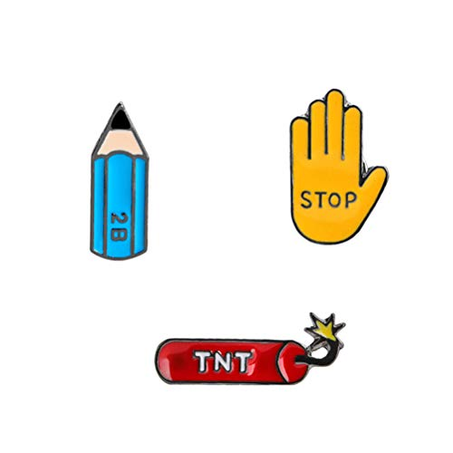 b9e335cc85084 3pcs Cartoon Pencil Gesture Brooches Stop Gesture Enamel Pin Hand TNT 2B  Pencil Metal Brooches Oil Drop Brooches Fashion Jewelry