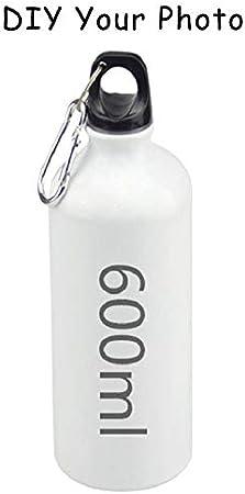 HENGTONGTONGXUN Impresión fotográfica de bricolaje 500ml botellas de aluminio Deportes acuáticos Ciclismo Camping botella de beber for bicicleta Hervidor aire libre que monta (Color : White 600ml)