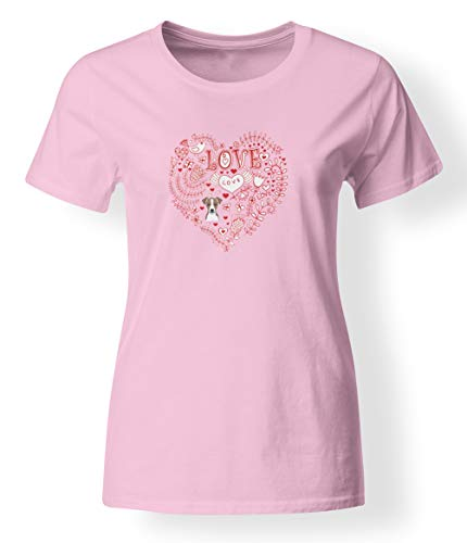 (Caroline's Treasures BB4519-978-XL Love Hearts and Jack Russell Terrier T-Shirt Ladies Cut Short Sleeve ExtraLarge, XL, Multicolor Pink)