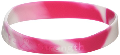 (Fun Express 12 Ribbon Silicone Camouflage Bracelets Breast Cancer Awareness Wrist Bands, Pink)