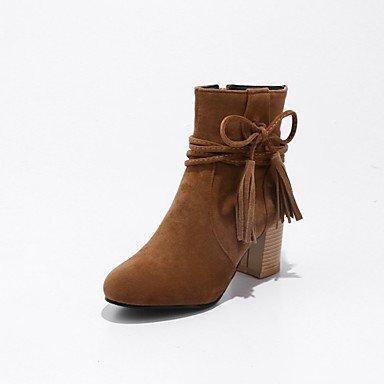 RTRY Zapatos De Mujer De Cuero De Nubuck Moda Invierno Botas Botas Chunky Talón Puntera Redonda Botines/Botines Lace-Up Para Vestimenta Casual Beige Amarillo US9 / EU40 / UK7 / CN41