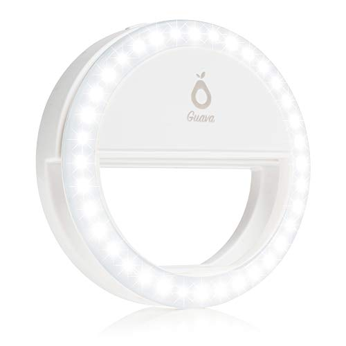 Selfie Ring Light with Rechargeable Battery - Adjustable Brightness with 36 LED - Portable Selfie Ring Circle for Selfies - Universal Phone Clip On - White