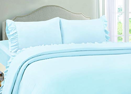 VINTAGE SELECT Queen (Blue) 4 Piece Ruffle Hem Ultra Soft Sheet Set Wrinkle & Fade - Queen Sheets Bed Vintage