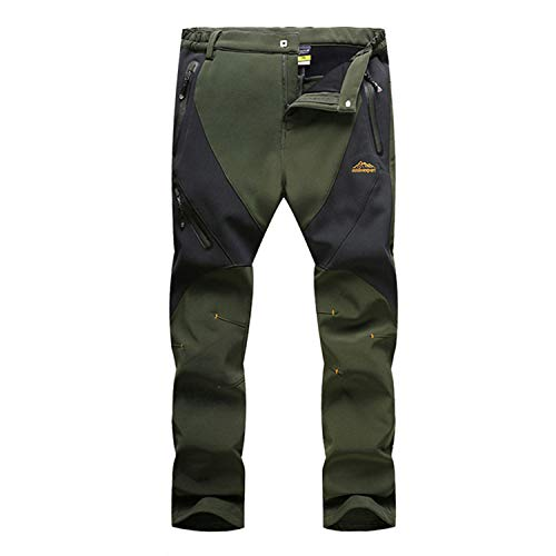 LASIUMIAT Men's Outdoor Winter Hiking Mountain Ski Snow Pants, Soft Shell Fleece Lined Trousers Green