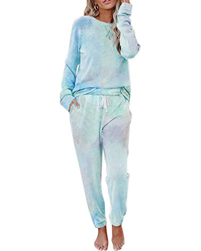 Eurivicy Women's Tie-Dye Sweatsuit Set 2 Piece Long Sleeve Pullover and Drawstring Sweatpants Sport Outfits Sets
