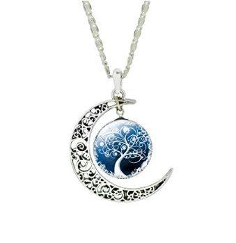 Crescent Glass Pendant (Women Unique Design Carve Flower Crescent Moon Life Tree Glass Cabochon Pendant Chain Necklace)
