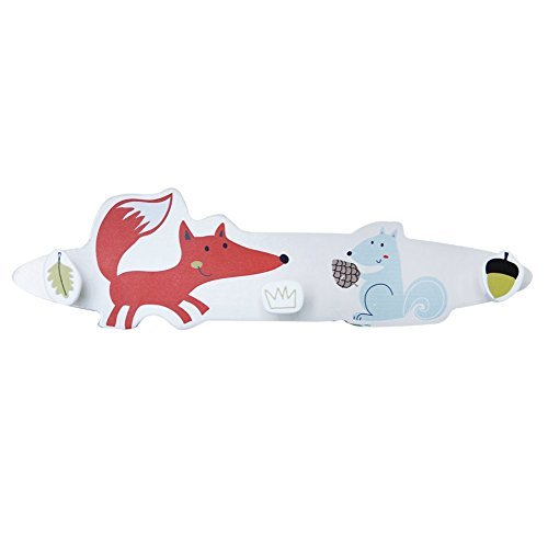 labebe Children Wooden Animal Wall Mounted Multi Colored Hook, Hat and Coat Fox Rack - Small by labebe