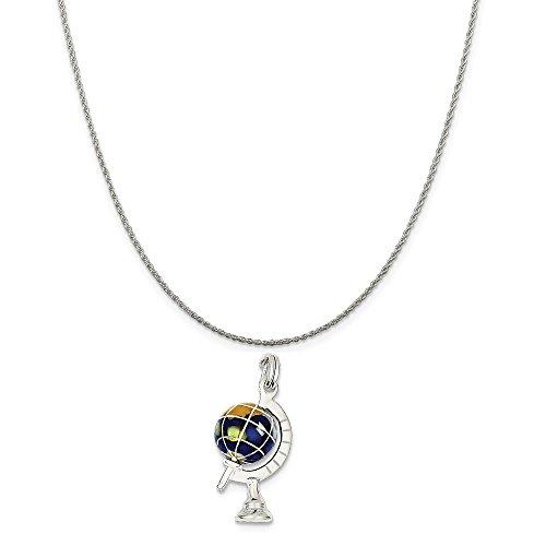Enameled Globe Charm - Sterling Silver Blue Enameled Globe Charm on a Sterling Silver Rope Chain Necklace, 16
