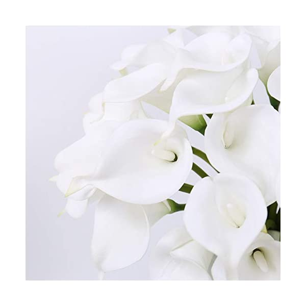 """FENGRUIL 30 Pcs Artificial Calla Lily Flowers, 14"""" Latex Real Touch Bridal Flowers Bouquet for Home Office Party Wedding Festival Table Centerpiece Decoration (White)"""