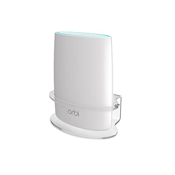 Netgear Orbi Wall Mount, BASSTOP Sturdy Clear Acrylic Wall Mount Bracket for NETGEAR ORBI AC3000/AC2200 Tri Band Home WiFi Router 1 Clean Look: Compact and lightweight,Looks clean and classic with your Orbi WiFi Router Better Signal: No interference and acquire better wifi signal and when mounting up, prevent your children or pets to play with it without dropping Save Space: Save your limited space and keep your device away from any water or others that might accidentally spill or splash