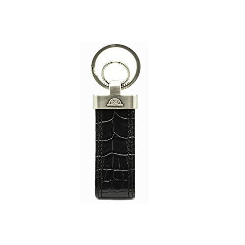 - Tony Perotti Italian Bull Leather Croco Themed Double Ring Key Chain