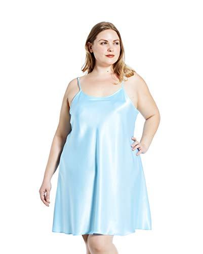 Jovannie Regular/Long Length Satin Chemise Plus Size Teddy Sleepwear Nightgown Nightie Full Slip Dress Babydoll Nightwear (2X Plus, Light-Blue)