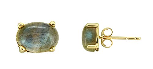 (YoTreasure 1.80 Ct. Oval Labradorite Solid 10K Yellow Gold Stud Earrings )
