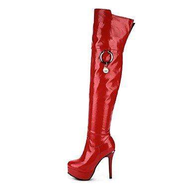 Heart&M Damen Schuhe Lackleder Mikrofaser Herbst Winter Modische Stiefel Stiefel Stöckelabsatz Plateau Runde Zehe Oberschenkel-hohe Stiefel white