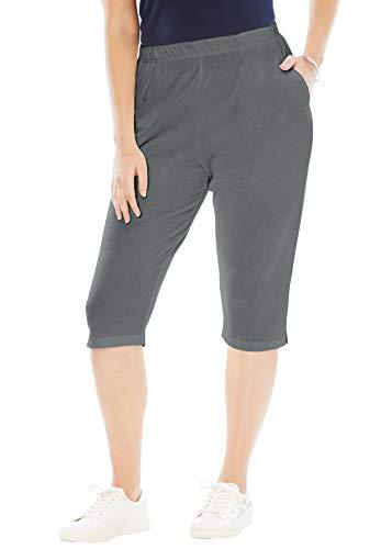 Roamans Women's Plus Size Soft Knit Capri Pant - Slate, S