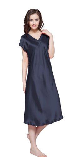 Seide Momme Ausschnitt 22 LilySilk Lang V Nachtkleider Nachthemd Blau Damen Maulbeerseide 4zwdfq