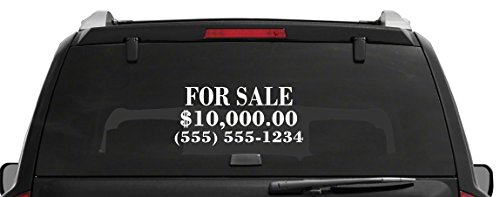 Custom Business / Automotive / Article For Sale Sign Vinyl Decal Window Sticker