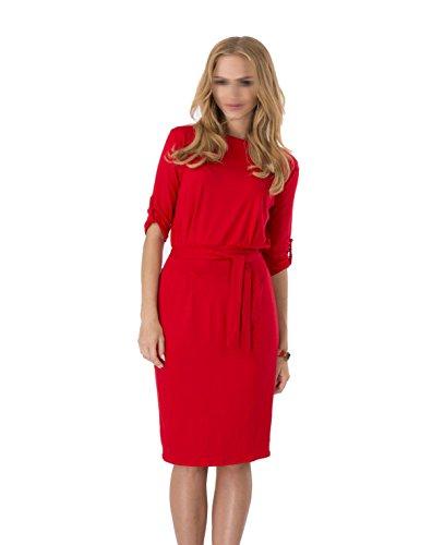 Primavera Y Otoño De Las Señoras Vestido De Cuello Redondo Multi-color De Varios Tamaños Red
