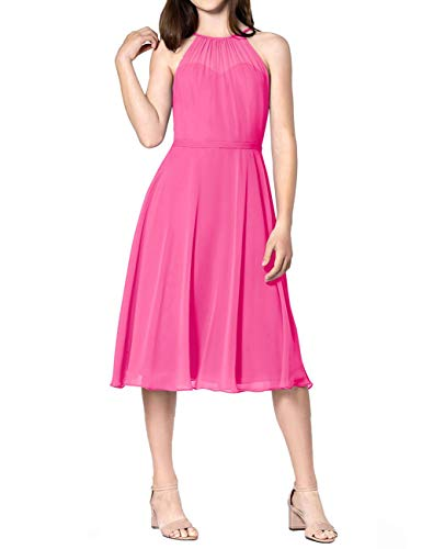 (Short Bridesmaid Dresses Halter Chiffon Prom Homecoming Dress Wedding Party Formal Gowns Petite Size US 6 Hot Pink)