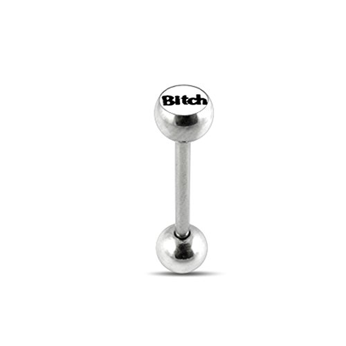 (White BITCH Logo Tongue Ring. 14Gx3/4(1.6x19mm) 316L Surgical Steel Barbell with 6/6mm Ball Tongue Piericng jewelry. Price per 1 Piece only.)
