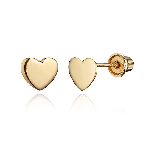 14k Yellow Gold Plain Heart Children Screwback Baby Girls Stud Earrings ()