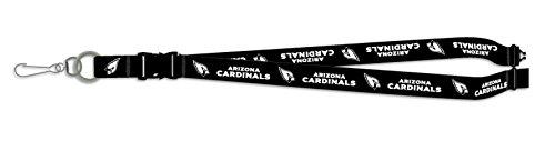 Arizona Cardinals BLACKOUT VERSION Deluxe 2-sided Lanyard Breakaway Clip w/J-Hook Keychain Football