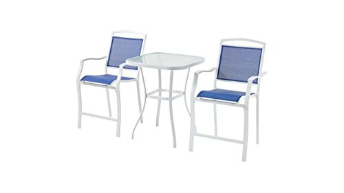 Máìnstáys Sand Dune 3-Piece High Outdoor Bistro Set, Seats 2 (Blue) (Sand 27' Table)