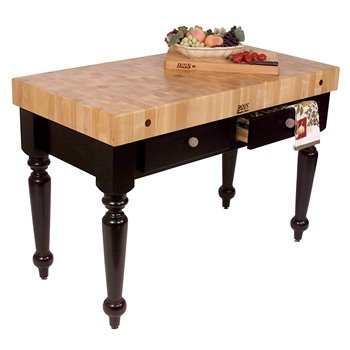 American Heritage Rustica Kitchen Island with Butcher Block Top Size / Shelves: 30