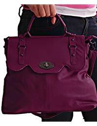 AVA Satchel Faux Leather Ladiesメッセンジャーショルダーバッグ  クランベリー B00G8OKAZ2