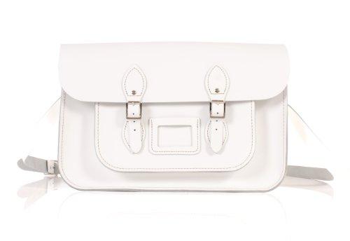 "15"" White English Leather Satchel Classic Retro Fashion laptop / school bag"