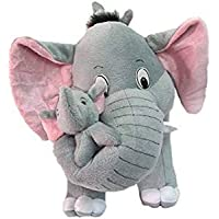 SARIKA TOYS Grey Mother Elephant with Two Baby Stuffed Soft Plush Toy Love Girl 32 cm