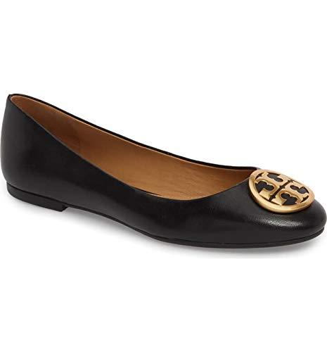 (Tory Burch Benton Ballet Flat Nappa Leather Shoes (8.5, Black))