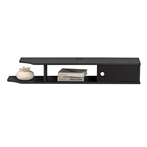 Bizzoelife Floating Media Console TV Stand Wall Mounted TV Console for Cable Boxes Router DVD Player