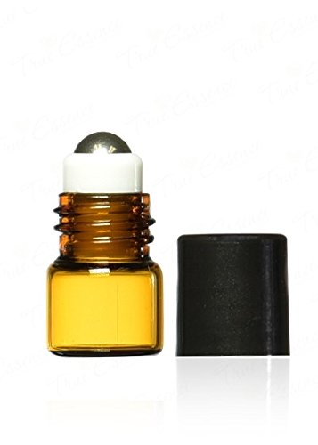 True Essence 1 ml, 1/4 Dram Amber Glass Micro Mini Roll-on Glass Bottles with Metal Roller Balls - Refillable Aromatherapy Essential Oil Roll On (12)