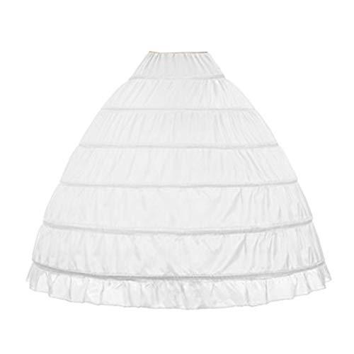WOWBRIDAL Women 6 Hoops Skirt Crinoline Petticoats Slips Floor Length for Bridal Gown White
